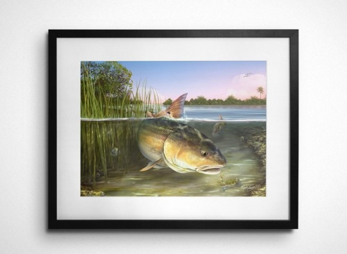 redfish fishing art gift for fisherman
