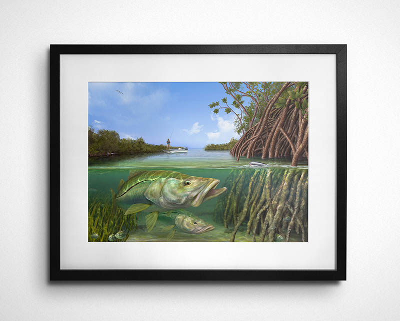 Snook painting framed